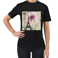 Purple Floral Vintage Paris Eiffel Tower Art Womens' T Shirt (black)