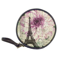 Purple Floral Vintage Paris Eiffel Tower Art Cd Wallet