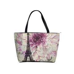 Purple Floral Vintage Paris Eiffel Tower Art Large Shoulder Bag