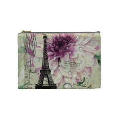 Purple Floral Vintage Paris Eiffel Tower Art Cosmetic Bag (Medium)