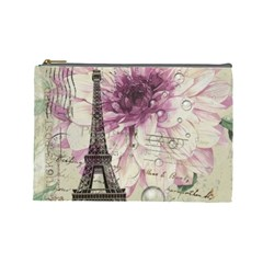 Purple Floral Vintage Paris Eiffel Tower Art Cosmetic Bag (Large)