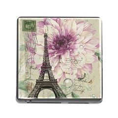 Purple Floral Vintage Paris Eiffel Tower Art Memory Card Reader With Storage (square)