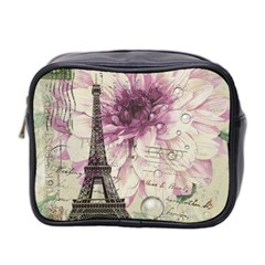 Purple Floral Vintage Paris Eiffel Tower Art Mini Travel Toiletry Bag (Two Sides)