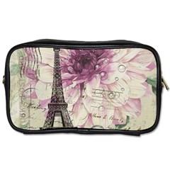Purple Floral Vintage Paris Eiffel Tower Art Travel Toiletry Bag (Two Sides)