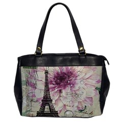 Purple Floral Vintage Paris Eiffel Tower Art Oversize Office Handbag (One Side)