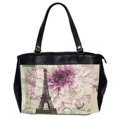 Purple Floral Vintage Paris Eiffel Tower Art Oversize Office Handbag (two Sides)