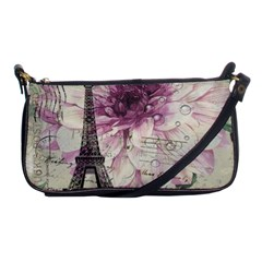 Purple Floral Vintage Paris Eiffel Tower Art Evening Bag