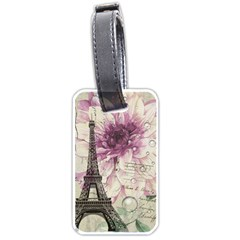 Purple Floral Vintage Paris Eiffel Tower Art Luggage Tag (Two Sides)