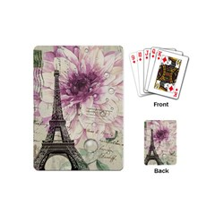 Purple Floral Vintage Paris Eiffel Tower Art Playing Cards (mini)