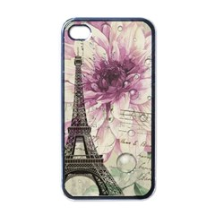 Purple Floral Vintage Paris Eiffel Tower Art Apple Iphone 4 Case (black)