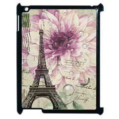 Purple Floral Vintage Paris Eiffel Tower Art Apple Ipad 2 Case (black)