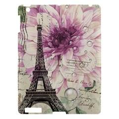 Purple Floral Vintage Paris Eiffel Tower Art Apple iPad 3/4 Hardshell Case