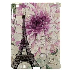 Purple Floral Vintage Paris Eiffel Tower Art Apple Ipad 3/4 Hardshell Case (compatible With Smart Cover)