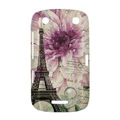 Purple Floral Vintage Paris Eiffel Tower Art BlackBerry Curve 9380 Hardshell Case