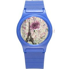 Purple Floral Vintage Paris Eiffel Tower Art Plastic Sport Watch (small)