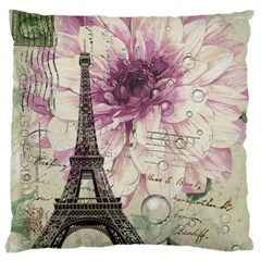 Purple Floral Vintage Paris Eiffel Tower Art Large Cushion Case (two Sided)