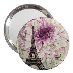 Purple Floral Vintage Paris Eiffel Tower Art 3  Handbag Mirror