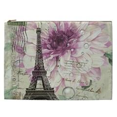 Purple Floral Vintage Paris Eiffel Tower Art Cosmetic Bag (XXL)