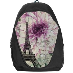 Purple Floral Vintage Paris Eiffel Tower Art Backpack Bag