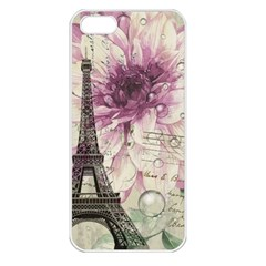 Purple Floral Vintage Paris Eiffel Tower Art Apple iPhone 5 Seamless Case (White)