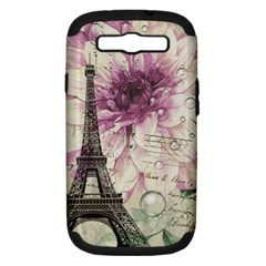 Purple Floral Vintage Paris Eiffel Tower Art Samsung Galaxy S III Hardshell Case (PC+Silicone)