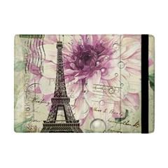 Purple Floral Vintage Paris Eiffel Tower Art Apple iPad Mini Flip Case