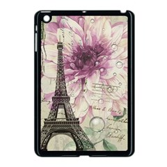 Purple Floral Vintage Paris Eiffel Tower Art Apple iPad Mini Case (Black)