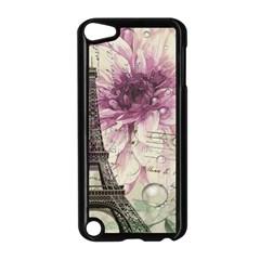 Purple Floral Vintage Paris Eiffel Tower Art Apple Ipod Touch 5 Case (black)