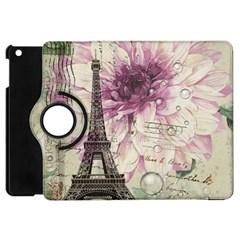 Purple Floral Vintage Paris Eiffel Tower Art Apple Ipad Mini Flip 360 Case