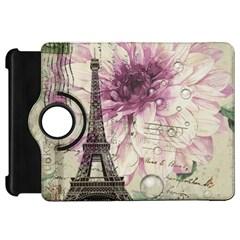 Purple Floral Vintage Paris Eiffel Tower Art Kindle Fire HD 7  Flip 360 Case
