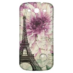 Purple Floral Vintage Paris Eiffel Tower Art Samsung Galaxy S3 S III Classic Hardshell Back Case