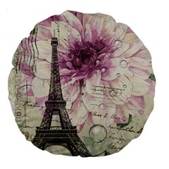 Purple Floral Vintage Paris Eiffel Tower Art 18  Premium Round Cushion