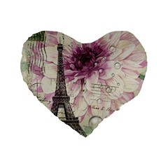 Purple Floral Vintage Paris Eiffel Tower Art 16  Premium Heart Shape Cushion