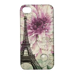 Purple Floral Vintage Paris Eiffel Tower Art Apple Iphone 4/4s Hardshell Case With Stand
