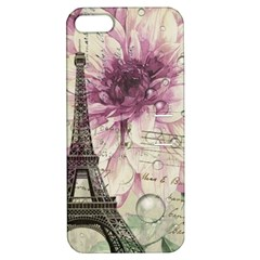 Purple Floral Vintage Paris Eiffel Tower Art Apple Iphone 5 Hardshell Case With Stand