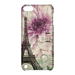 Purple Floral Vintage Paris Eiffel Tower Art Apple Ipod Touch 5 Hardshell Case With Stand
