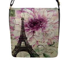 Purple Floral Vintage Paris Eiffel Tower Art Flap Closure Messenger Bag (Large)