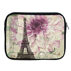 Purple Floral Vintage Paris Eiffel Tower Art Apple iPad 2/3/4 Zipper Case