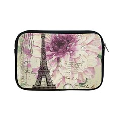 Purple Floral Vintage Paris Eiffel Tower Art Apple iPad Mini Zipper Case