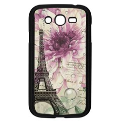 Purple Floral Vintage Paris Eiffel Tower Art Samsung I9082(galaxy Grand Duos)(black)