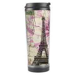 Purple Floral Vintage Paris Eiffel Tower Art Travel Tumbler