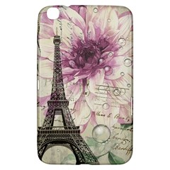 Purple Floral Vintage Paris Eiffel Tower Art Samsung Galaxy Tab 3 (8 ) T3100 Hardshell Case