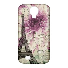 Purple Floral Vintage Paris Eiffel Tower Art Samsung Galaxy S4 Classic Hardshell Case (PC+Silicone)
