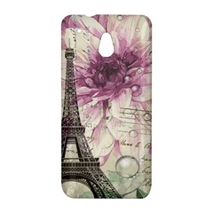 Purple Floral Vintage Paris Eiffel Tower Art HTC 601e (One Mini) M4 Hardshell Case