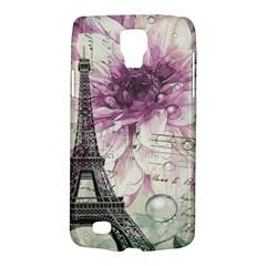 Purple Floral Vintage Paris Eiffel Tower Art Samsung Galaxy S4 Active (i9295) Hardshell Case