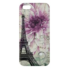 Purple Floral Vintage Paris Eiffel Tower Art iPhone 5S Premium Hardshell Case