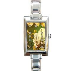 Floral Eiffel Tower Vintage French Paris Rectangular Italian Charm Watch