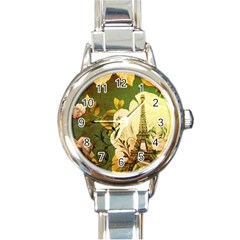 Floral Eiffel Tower Vintage French Paris Round Italian Charm Watch