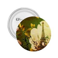 Floral Eiffel Tower Vintage French Paris 2.25  Button