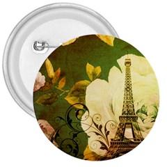Floral Eiffel Tower Vintage French Paris 3  Button